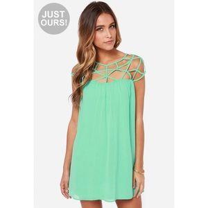 Lulu's Mint Green All the Cage Mini Dress
